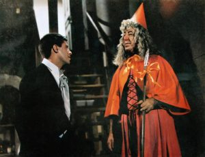 Cinderfella (Jerry Lewis) talking with Ed Wynn, his fairy godfather -- dressed as his fairy godmother!
