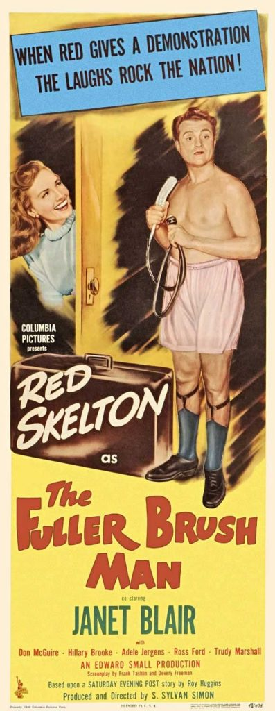 "Movie poster for ""The Fuller Brush Man"" starring Red Skelton, Janet Blair"