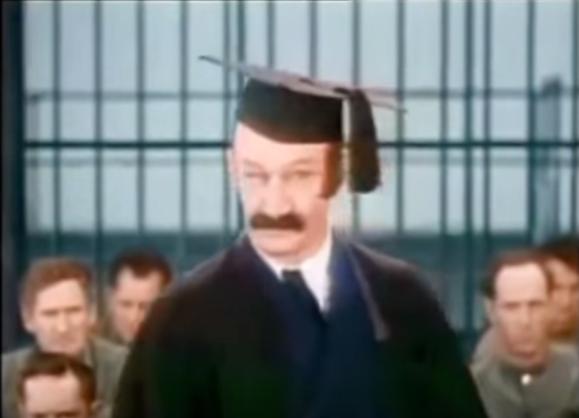 "James Finlayson as the school teacher at the prison in ""Pardon Us"""