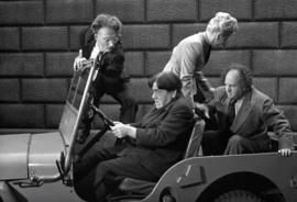 Funny movie quotes from Fuelin' Around, starring the Three Stooges (1949)