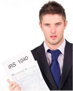 Dressed as an IRS agent for Halloween