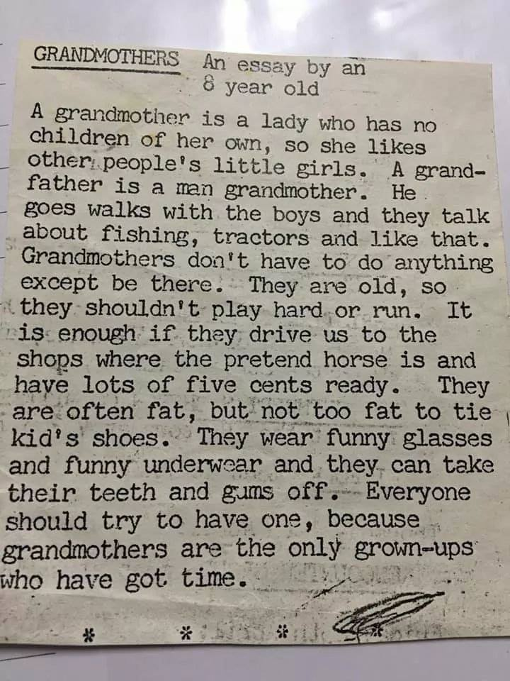 Grandmothers - an essay by an 8-year-old
