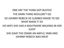 Song lyrics to 'Johnny Rebeck', the man who turned his neighbor's cats and dogs … into sausages?